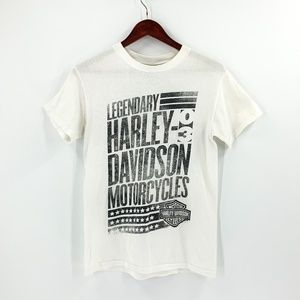 Harley-Davidson White Graphic Tee Small